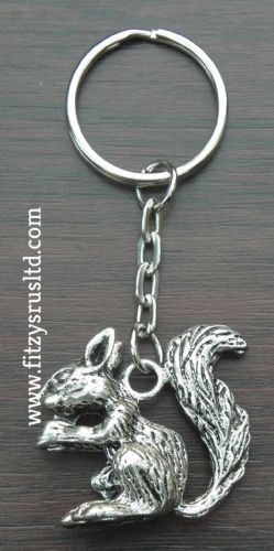 Large Squirrel Metal Keyring Rodent Key Ring Animal Lovers Gift Souvenir